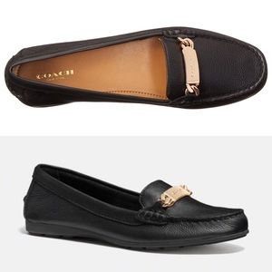 [Coach] Olive Driver Black Leather Loafers